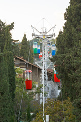 small urban cable way to Darsan Hill in Yalta city