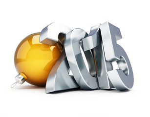 happy new year 2015. 3d Illustrations on a white background