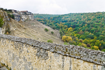 Fortified walls of town chufut kale in Crimea