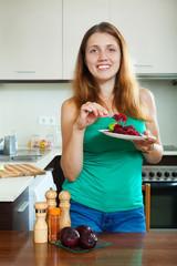positive girl eating