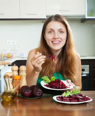 girl eating  beets