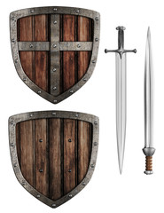 old wooden medieval knight's shield and swords set isolated