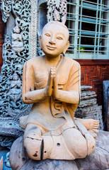 monk image wood craft in Myanmar