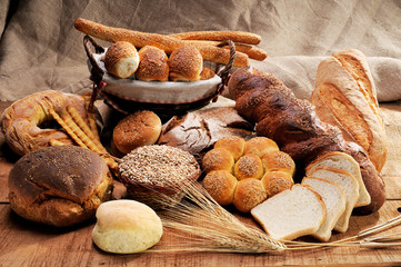 Different types of bread on a jute canvas