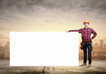 Builder with banner