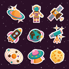 Space stickers set