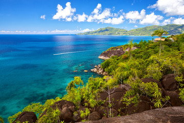 Seascape view with turquoise water, Mahe island, Seychelles