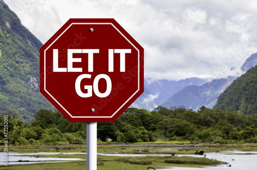 Let It Go wooden sign with a landscape background Poster
