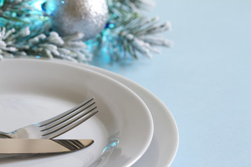 Christmas table with cutlery and tableware abstract background