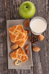 almond cake with milk and apple