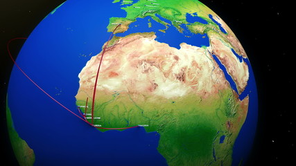 3D animation simulating the Ebola Virus Spreading to Europe from
