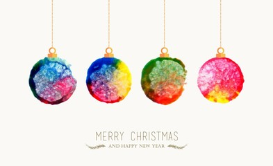 Christmas bauble watercolor greeting card