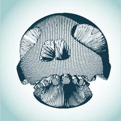 Robotic skull vector illustration
