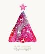 Obrazy na płótnie, fototapety, zdjęcia, fotoobrazy drukowane : Merry Christmas pine tree watercolor greeting card