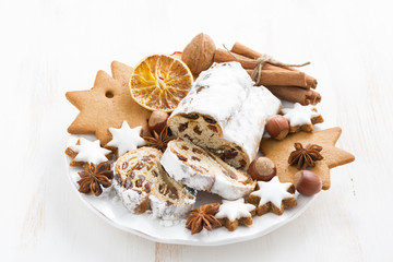 Christmas Stollen, cookies and spices on a plate