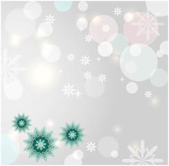Зимняя композиция со снежинками, бликами и шарами.