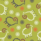 pattern seamless sheep and snowflakes Christmas winter
