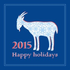 goat of snowflakes decorative Christmas greeting card