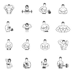 Bodybuilding fitness gym icons black