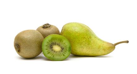 ripe fruits: kiwi and pear isolated on white background