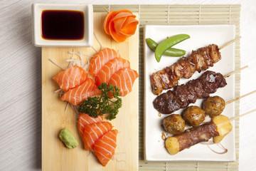 sushi salsade Ido sauce wasabi sashimi