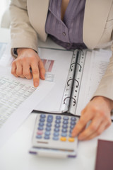 Closeup on business woman working