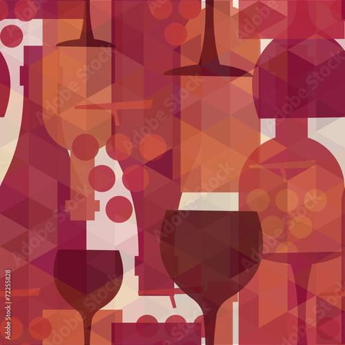 Fototapeta Wine and drink seamless pattern background