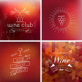 Fototapety Wine bar vintage label background set
