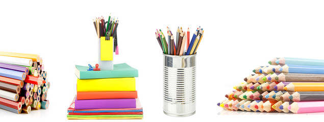 Set of book and stationery against white background