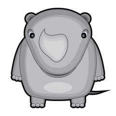 cartoon illustration of a baby rhino