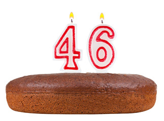 birthday cake with candles number 46 isolated