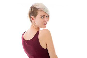 model isolated on plain background back turning around