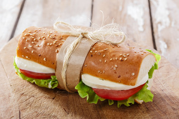 baguette sandwich with mozzarella and tomatoes