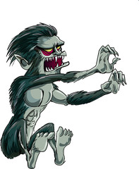 Cartoon jumping Wolf-man