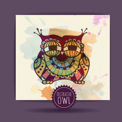 Card with decorative owl and watercolor stain