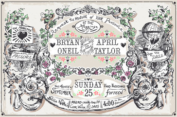 Vintage Wedding Hand Drawn Banners and Labels