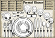 Vintage Hand Drawn Place Setting Formal Dinner Vector - 72258204