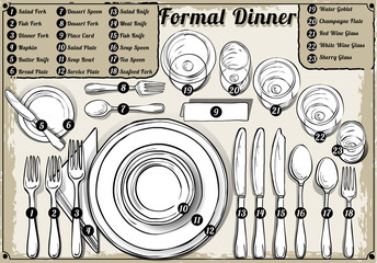 Vintage Hand Drawn Place Setting Formal Dinner