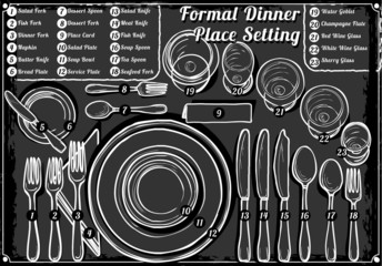 Vintage Hand Drawn Blackboard Place Setting Formal Dinner