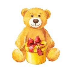 teddy bear sits with a yellow gift. Watercolor.