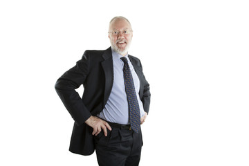 Relaxed elderly man posing on white background