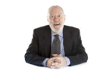 Happy elderly man posing on white background