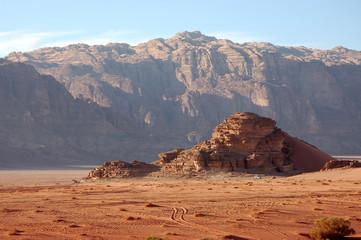 Wadi Rum desert landscape.