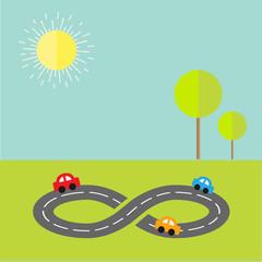 Background  road infinity sign three cartoon cars tree sun Flat