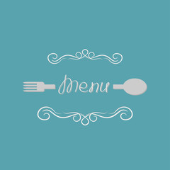 Fork, spoon and abstract calligraphic frame. Menu Flat