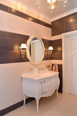 Bathroom interior fragment. Modern classics with rococo elements