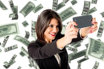 selfie with many money