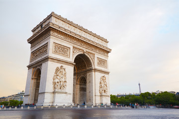 Arc de Triomphe in Paris, quiet morning scene