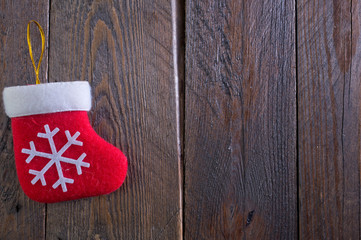 red sock on wooden board