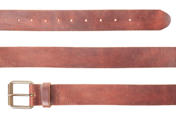 Brown leather belt set on white, clipping path
